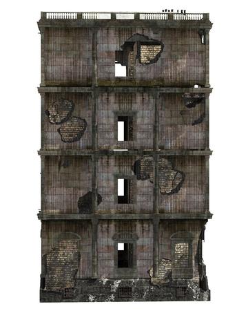 Edificio en ruinas aislado en blanco ilustración 3D