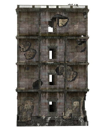 Ruined Building Isolated On White 3D Illustration