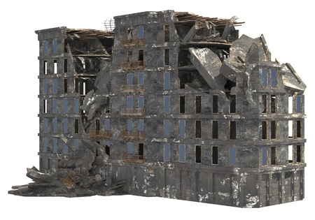 Ruined building isolated on white background 3D Illustration Stock Photo