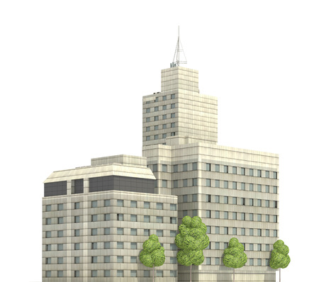 Modern buildings isolated on white background 3d illustration Banco de Imagens