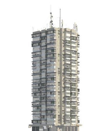 Slum futuristic building isolated on white background 3d illustration
