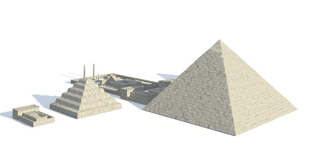 Egypt buildings and statues isolated on white background 3d Illustration Reklamní fotografie