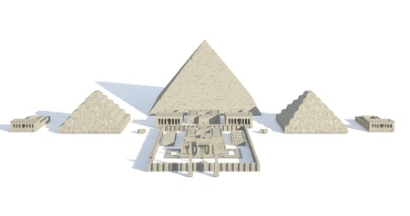 Egypt buildings and statues isolated on white background 3d Illustration Stock Photo