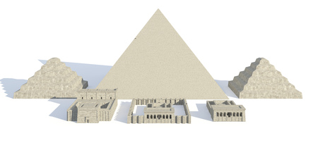 3D Illustration Egyptian buildings and statues isolated on white background