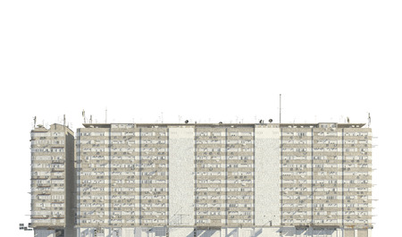 Slums buildings isolated on white background 3d illustration