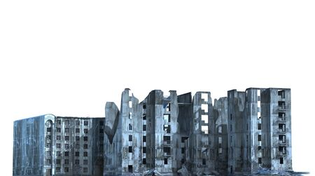 Ruined Buildings Isolated On White 3D Illustration Stock Photo