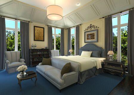 Bedroom Interior 3D Illustration Photorealistic Rendering Stock Photo