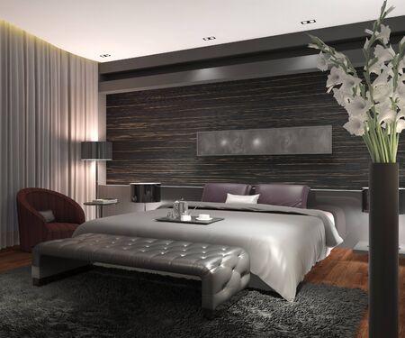 Bedroom or Hotelroom Interior 3D Illustration Photorealistic Rendering Stock Photo