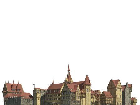 Medieval Cityscape Isolated on White Background 3D Illustration Stockfoto