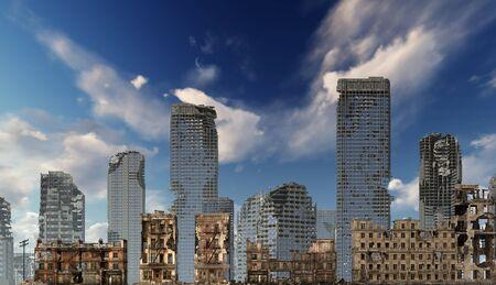 Ruins of a city apocalyptic landscape 3d illustration concept