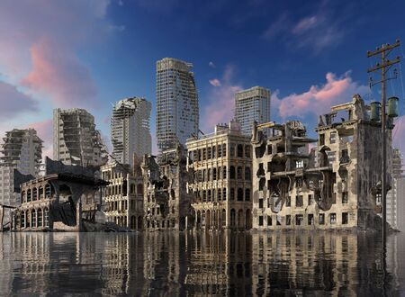 Global Warming Ruins of a city apocalyptic landscape 3d illustration concept
