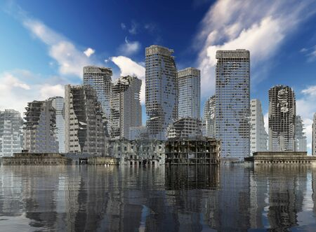 3D illustration global warming Ruins of a city apocalyptic landscape concept