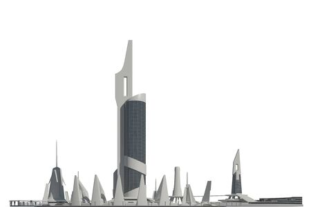 3D illustration Futuristic Buildings Isolated on White Background