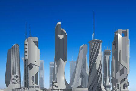 3D illustration Futuristic City against the blue sky