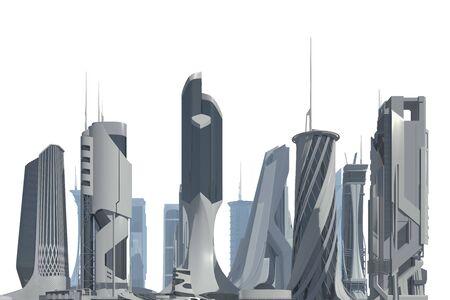 Futuristic City isolated on white 3D illustration
