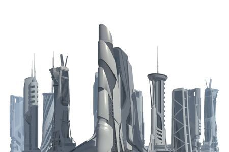 3D illustration Futuristic City isolated on white