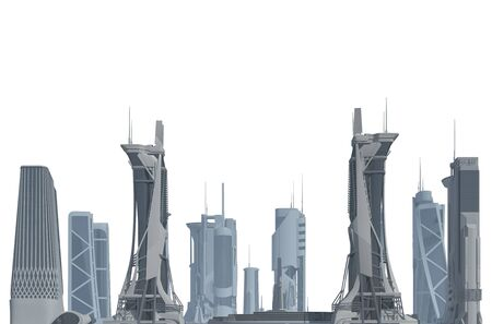 Futuristic City isolated on white 3D illustration