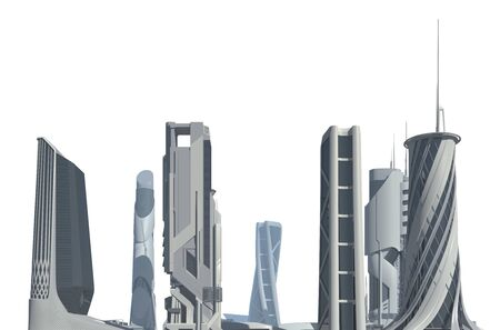 3D illustration Futuristic City isolated on white Banco de Imagens - 135528056