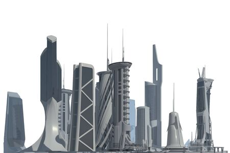 3D illustration Futuristic City isolated on white