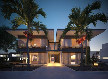 Photorealistic render building exterior in the outdoor 3d illustration