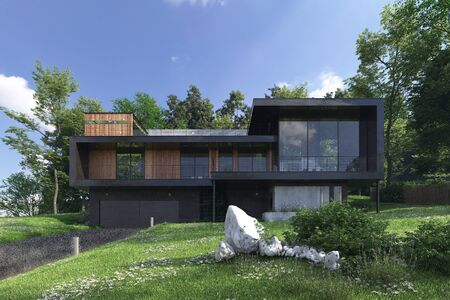 Render building exterior in the outdoor 3d illustration