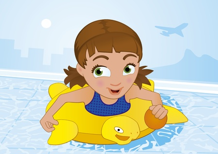 Little Girl Having Fun Swimming in a Pool at Summer time Vector