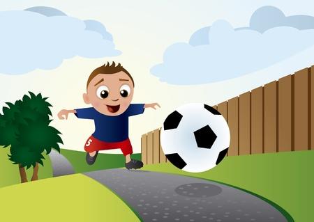 cartoon football player: Young Soccer Boy
