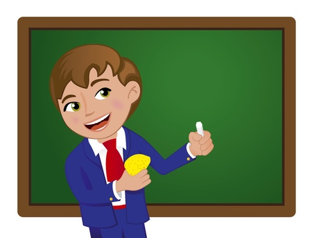 Young School Boy at School Vector