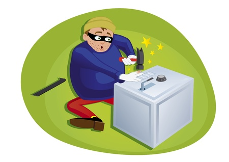 thief steeling money from security safe Vector