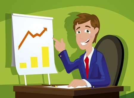 office staff: young adult smiling confident businessman in modern office showing success Illustration