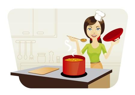 comida americana: sonriente joven hermosa mujer cocina en cocina