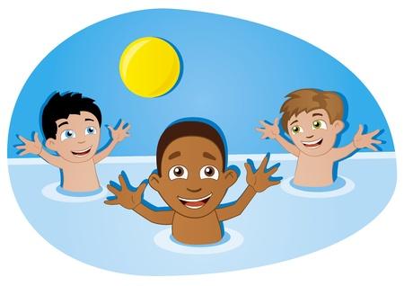 楽しんで: スイミング プールのボールと楽しく幸せな子供