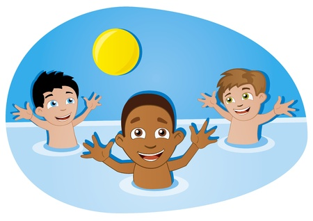kids swimming pool: ni�os felices divertirse con el bal�n en la piscina