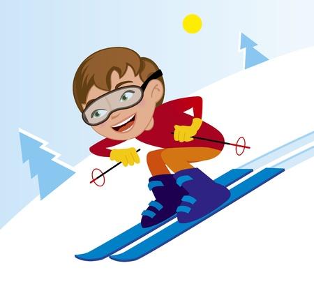 skiën afdaling in de winter Stock Illustratie