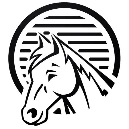 horse at farm logo Vector