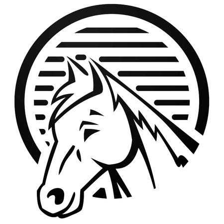 horse at farm logo