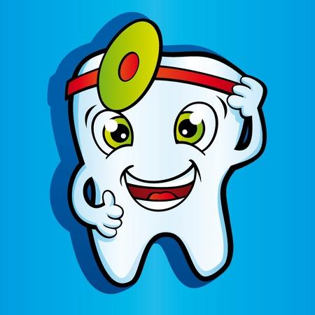 dientes caricatura: Dientes sanos sonrisa en la Cl�nica Dental Vectores