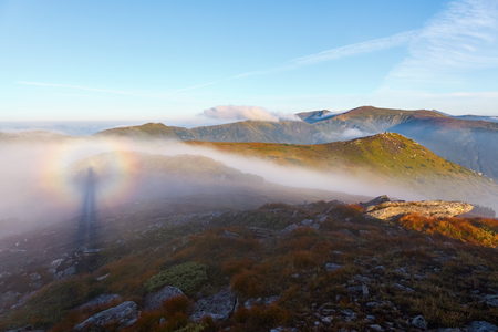 spectre: Optical illusion Brocken Spectre  in the meadow among the highest mountains in the morning fog and blue sky.