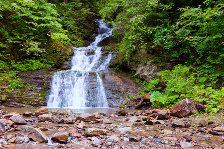 In the beautiful green forest on the huge rocks the fast tempestuous mountain waterfall flows. Happy lifestyle.