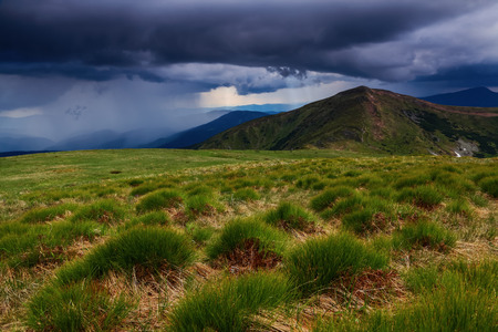 spanned: Extraordinary stormy sky with rain clouds is spanned over the high mountain. The lawn with green hummocks.