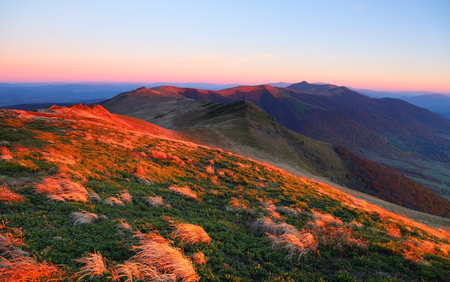 The incredible landscape with the sunrise high in the mountains. Nice view for nature lovers. Beautifu morning scenery. Location place Ukraine, Europe.