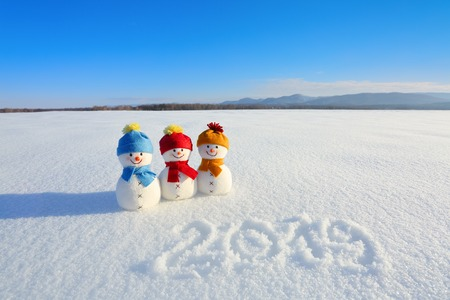 2019 written on the snow. Smiling snowman with hats and scarfs are standing on the field with snow. Landscape with mountains. Nice winter day for miracles.