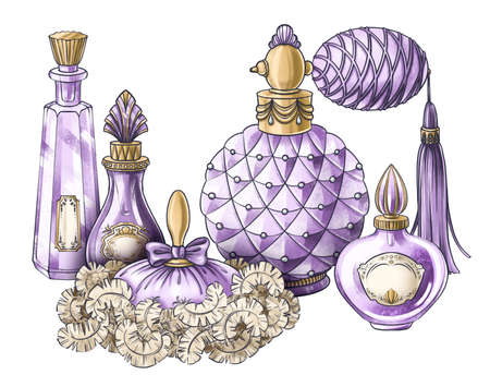 Hand drawn composition of illustrations of vintage jewelry jar, antique crystal perfume bottle, powder puff, for book, postcard, identity, poster, decoration in Marie Antoinette style