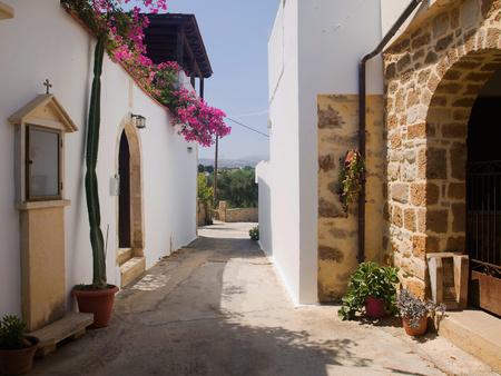village in the mountains street Crete Greece Stock Photo