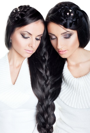 Brunette twins photo