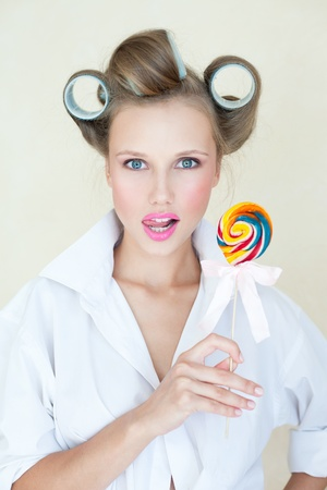 Thoughtful candy-girl photo