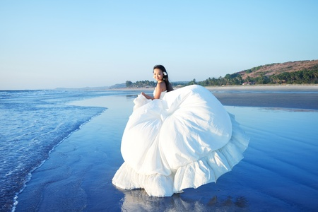 asian bride: Young Asian bride in a beautiful dress Stock Photo