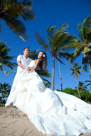 Gorgeous mixed race newlyweds on the beach photo