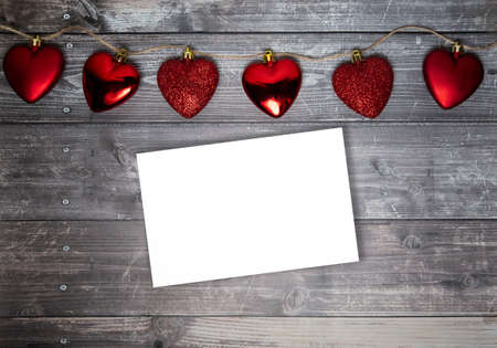 red hearts on a wooden background. valentines day. High quality photo