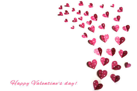 pink hearts on white background, valentine day . High quality photo